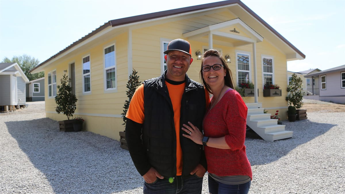 Paige and Raf transform half a house into a suburban family dream home.